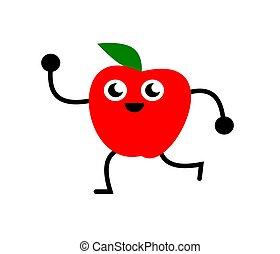 divertente, mela, illustrazione, ballo