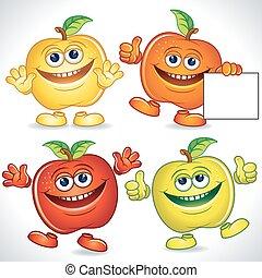 divertente, mele, cartone animato