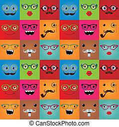 divertente, mostro, seamless, hipster, fondo, facce