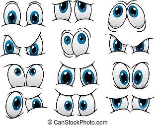 divertente, occhi, set, cartone animato