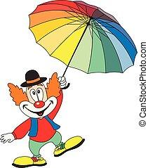 divertente, ombrello, presa a terra, pagliaccio, cartone animato