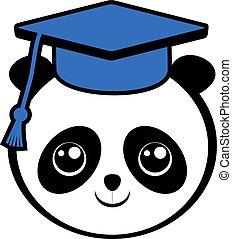 divertente, panda, studente