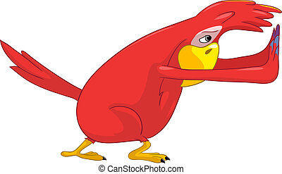 divertente, pushing., parrot.