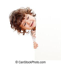 divertente, riccio, faccia bianco, pubblicità, tenere bambino, bandiera
