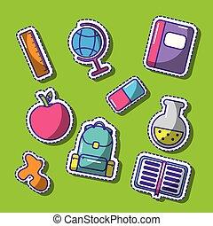 divertente, scuola, set, pezze, carino, elementi