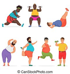 divertente, set, caratteri, palestra, grasso, vettore, fitness., exercises., paffuto, sport, allenamento, uomo