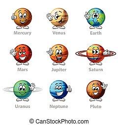 divertente, set, icone, vettore, pianeti, cartone animato