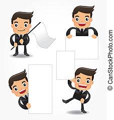 divertente, set, impiegato, cartone animato, icona