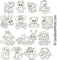 divertente, sorridente, animali giocattolo, amichevole