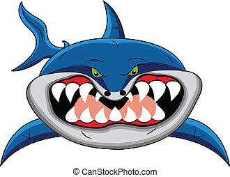 divertente, squalo, cartone animato
