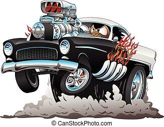 divertente, stile, fumo, macchina classica, fiamme, verga, americano, illustrazione, caldo, vettore, anni cinquanta, grande, motore, wheelie, cartone animato, schioccare, pneumatici