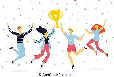 divertente, successo, concetto, gruppo, cup., persone, gioia, associazione, su, saltare, vincente, lavoro squadra, hand-drawn, lifestyle., presa a terra, attivo, o, felice