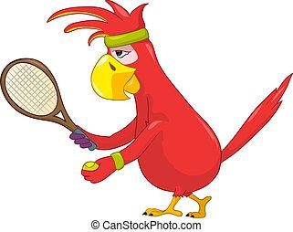 divertente, tennis., parrot.