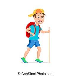 divertente, turista, appartamento, character., boy., isolato, illustrazione, vettore, hipster, fondo, disegno, bianco, cartone animato, art.