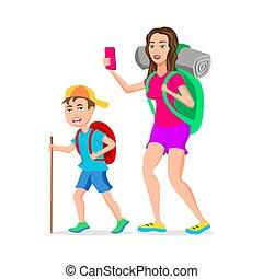 divertente, turista, appartamento, character., mamma, isolato, illustrazione, figlio, vettore, hipster, fondo, bianco, cartone animato, design.