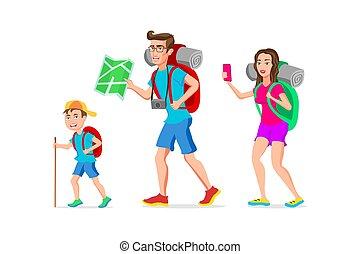 divertente, turista, famiglia, appartamento, character., padre, isolato, illustrazione, figlio, vettore, hipster, fondo, madre, bianco, cartone animato, design.