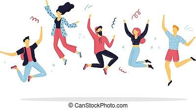 divertente, vettore, illustration., persone, uomini, celebrazione, o, hand-drawn, saltare, joy., life., concetti, donne, godere, festa., cartone animato, felice