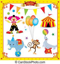 divertimento, circo, set