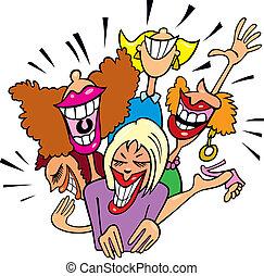 divertimento, donne ridendo, detenere