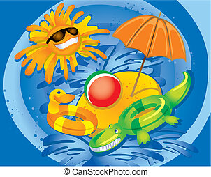 divertimento, estate, (vector)