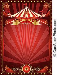 divertimento, manifesto, circo, rosso