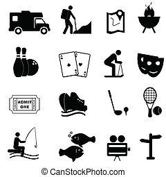 divertimento, ozio, icone