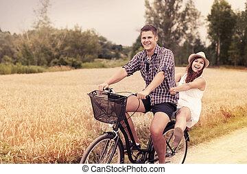 divertimento, sentiero per cavalcate, coppia, bicicletta, possedere