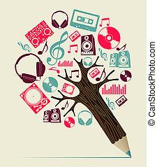 dj, concetto, musica, albero, matita