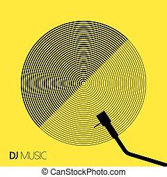 dj, musica, geometria, disegno, vinile, arte, cerchio, linea