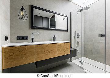 doccia, bagno, moderno