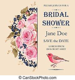 doccia, nuziale, invito