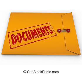 documenti, busta, giallo, dischi, importante, sigillato, devliery