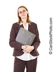 documenti, donna d'affari, rilegatore, importante, presa a terra, anello