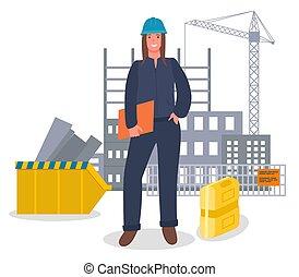 documenti, fondo, uniforme, casco, donna, ingegnere, costruzione, costruzione, bello