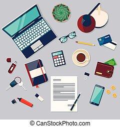 documenti, ufficio, cima, scrivania, laptop, libri, fondo, digitale, oggetti, vista, congegni