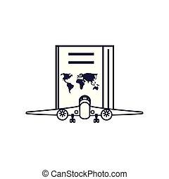 documento viaggio, aeroplano, passaporto