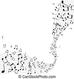 doga, note, vettore, musica, vario
