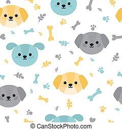 dogs., carino, poco, modello, infantile, involucro, seamless, carta, vivaio, fondo, decorazione, trendy, puppies., cartone animato