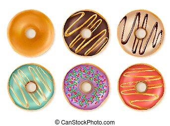 dolce, donuts, white., saporito, isolato