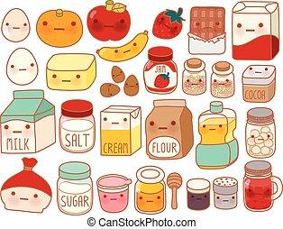 dolce, latte, infantile, uovo, stile, torta, carino, farina, isolato, icona, cartone animato, manga, adorabile, fragola, girly, ingrediente, kawaii, burro, collezione, bello, bianco