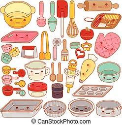 dolce, matterello, stile, carino, isolato, manopola, apparecchiatura, cartone animato, pasta, pan, manga, adorabile, girly, kawaii, attrezzo, collezione, bello, bianco