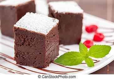 dolce, o, torte, cioccolato, capriccio, brownies