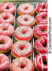 dolce, organizzato, mostra, donuts