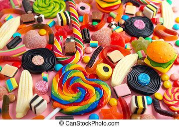 dolci, fondo, sopra, come, colorito, rosa, mescolato, caramella, festivo