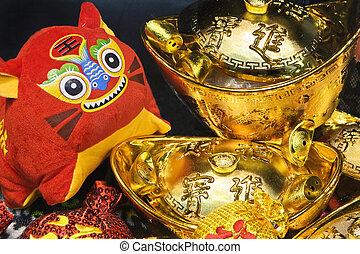 doll., cinese, tiger, scena, anno, nuovo, zodiaco, 2010