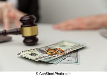 dollari, concept., sezione, because, legale, soldi, divorce.