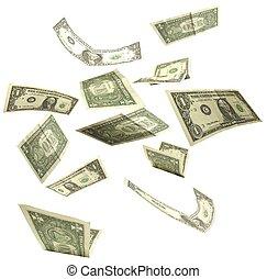 dollari, isolato, 2, fondo, cadere, bianco