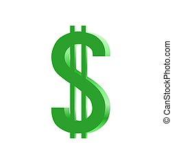 dollaro, 3d, segno