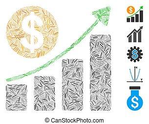 dollaro, icona, crescita, collage, grafico, lineetta