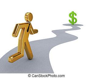 dollaro, persona, dorato, segno., correndo, 3d, piccolo